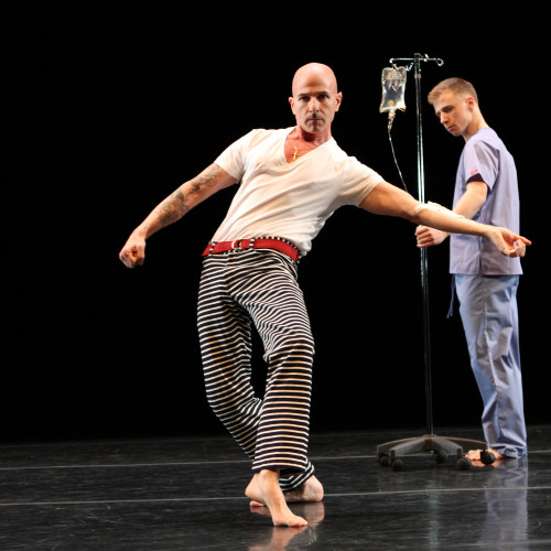 """Stephen Petronio with Nicholas Sciscione in """"Intravenous Lecture"""" by Steve Paxton"""